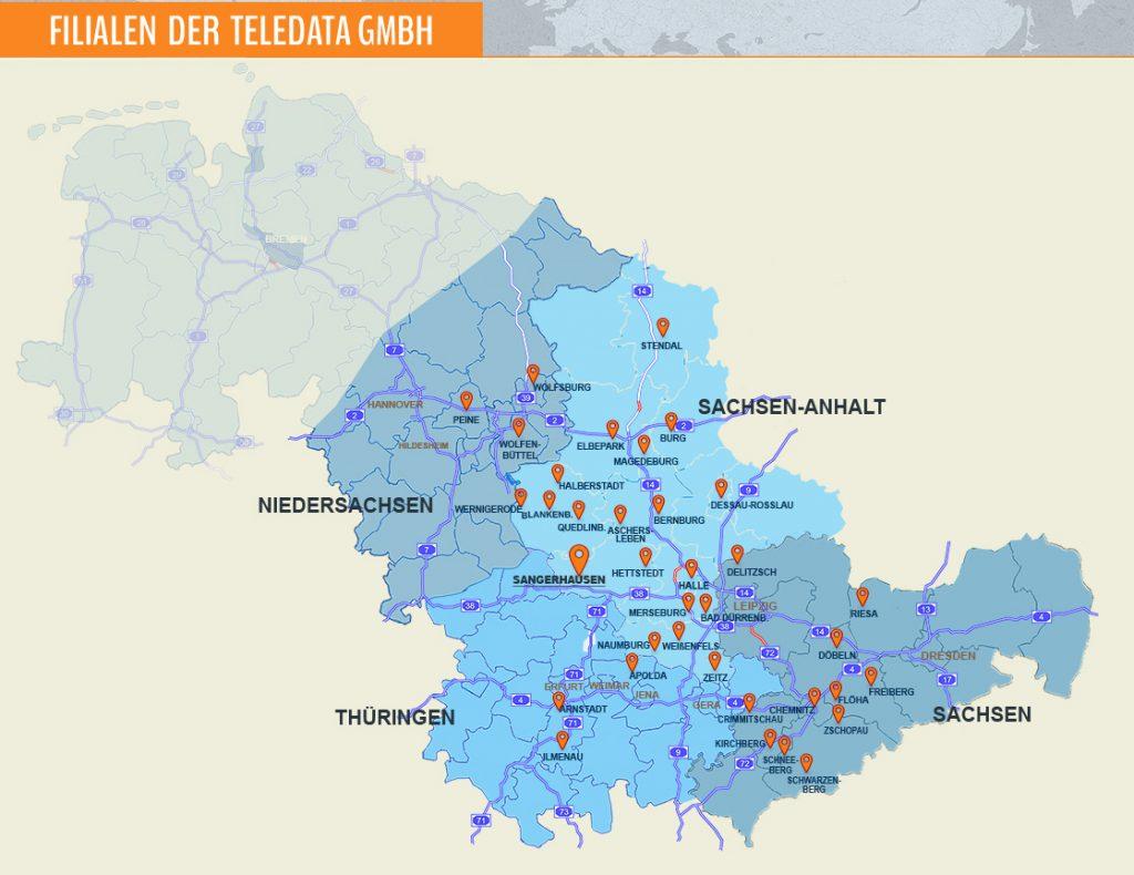 Kartenübersicht-Filialen der Teledata GmbH